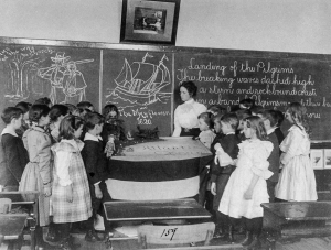 An American classroom ca. 1899: students studying the landing of the Pilgrims at Plymouth, Mass. Photo via The Library of Congress. http://www.loc.gov/pictures/item/2004668395/resource/