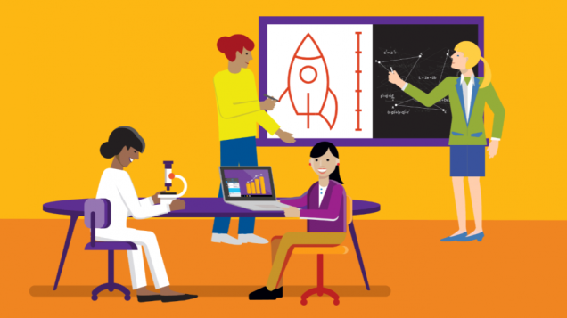 An illustration depicting women teaching and learning STEM subjects.